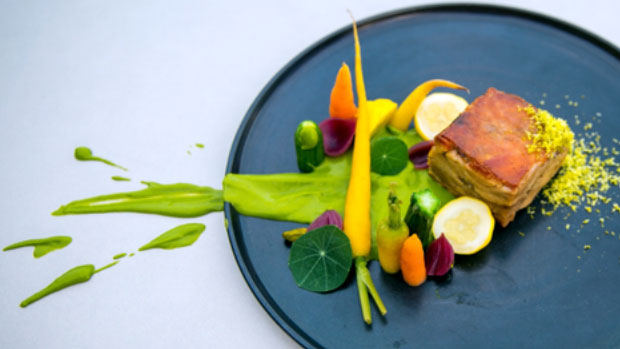 Lechon with Pistachio Mole and Pickled Vegetables