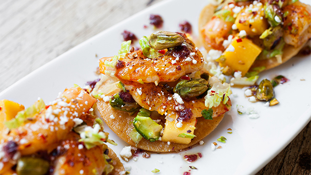 Lowcountry Shrimp Tostada with Mango Pistachio Salsa